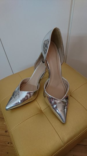 Asos Pointed Toe Pumps light grey imitation leather