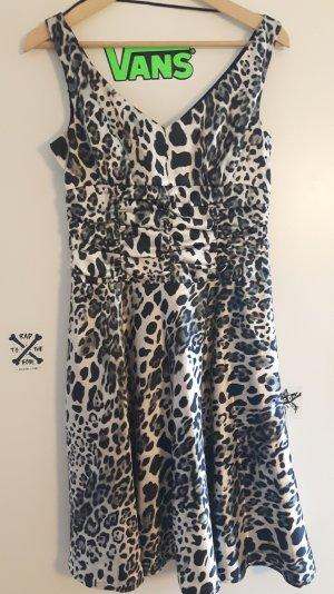 Silber schwarz Leoparden Kleid