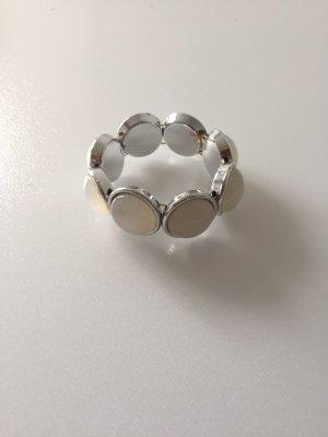 Braccialetto sottile bianco-argento