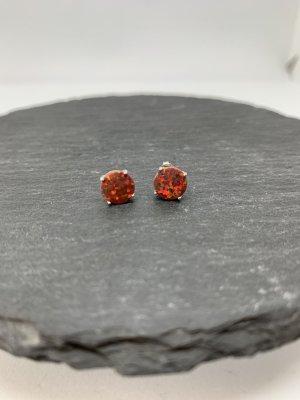 Silver Earrings dark orange-dark red
