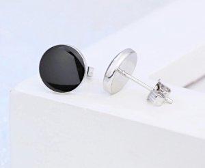 Orecchino d'argento argento-nero