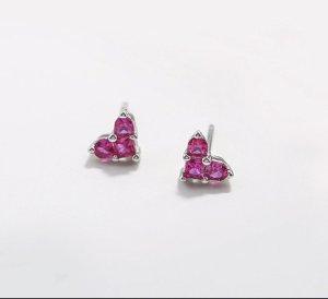Pendientes de plata color plata-rosa