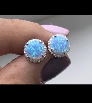Zilveren oorbellen zilver-lichtblauw