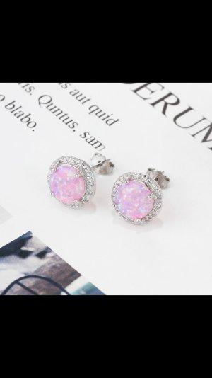 Zilveren oorbellen roze-zilver