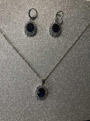 Ketting zilver-blauw