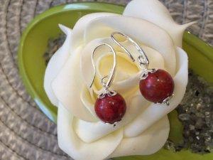 Silbere Ohrringe 925 mit Koralle Perlen, Handarbeit, Modeschmuck, Geschenk, Top!