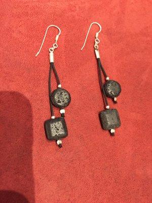 Silbere Ohrringe mit Lava, Handarbeit, Top!