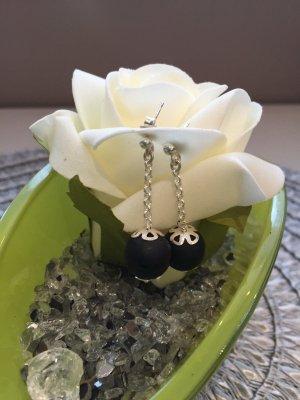 Silbere Ohrringe mit Onyx Perlen, Handarbeit, Top!