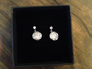 Ear stud silver-colored-white