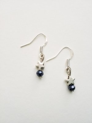 silberfarbene Ohrringe mit silberfarbenem Stern und dunkelblauer Perle