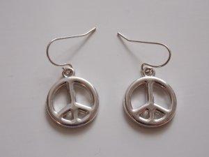 silberfarbene Peace-Ohrhänger