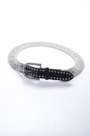 Silver-colored belt with rhinestones