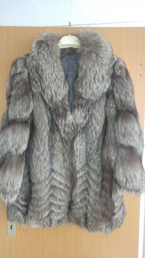 Silberfuchs fuchs Jacke mantel echt pelz fell GR M luxus pur