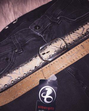 Cinturón de cuero crema-gris Cuero