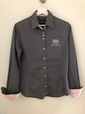 Silbergraue Bluse von GAZOIL mit rosa Stickerei, Gr 40