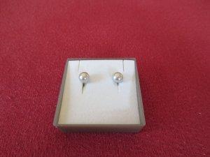 silbergraue Perlenstecker
