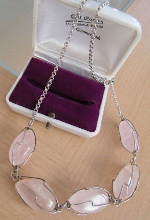 Silberkette echter Rosenquarz Edelstein Modern Art Kette silber Silberdraht Vintage  rose rosa