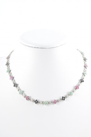 Catena d'argento multicolore stile romantico