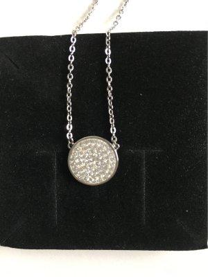 Silberkette mit Anhänger rund mit Swarovski Kristallen