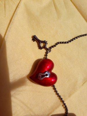 Silberkette mit Herz und Schlüssel