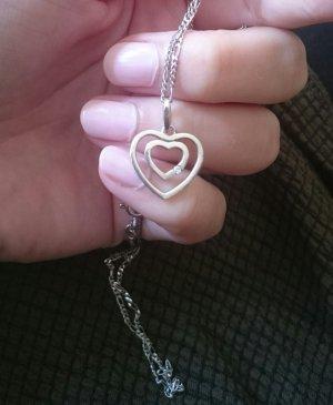 Silberkette mit Herzanhänger und Edelstein 925er Echtsilber