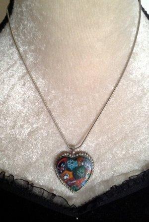 Silberkette mit Herzanhänger versilbert und Fimoanhänger