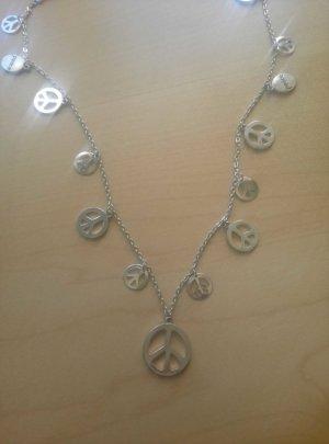 Silberkette mit Peace Anhängern
