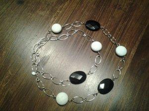 Silberkette  neu mit schwarzen und weissen Steinen