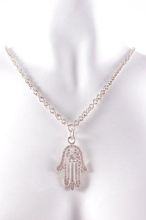 Cadena de plata color plata estampado azteca