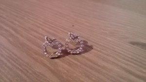 silberne Apfel-Ohrringe mit Glitzersteinen