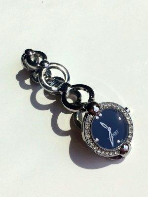 Silberne Armbanduhr Esprit mit Strasssteinen und schwarzem Ziffernblatt