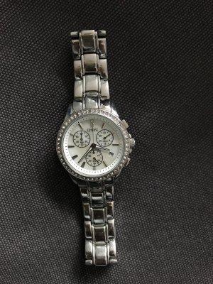 Silberne Christ Uhr mit Glitzersteinen
