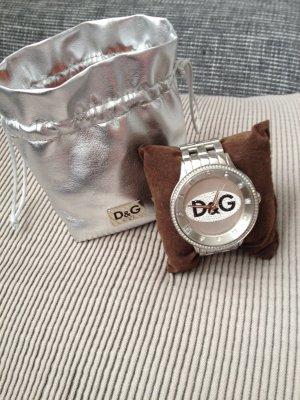 silberne Dolce&Gabbana Uhr mit Swarovskisteinen