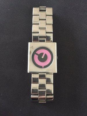 Silberne Esprit Uhr mit rosa/ schwarzen Zifferblatt