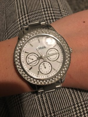 Fossil Watch white-silver-colored