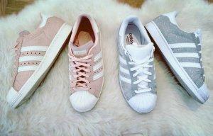 Silberne glitzer adidas superstars gr. 38  blogger sneaker
