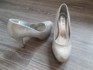 Silberne Glitzer High Heels