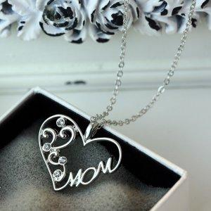 Silberne Halskette mit Anhänger Mom und Strass Herzkette Geschenk Mutter Kette