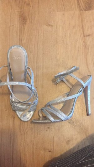 Silberne hohe Schuhe pumps Gr. 38