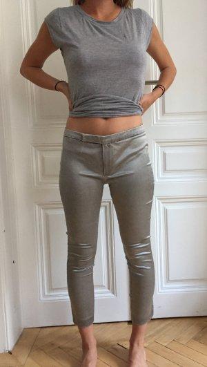 Silberne Hose von Mango mit Reißverschluss an Bein