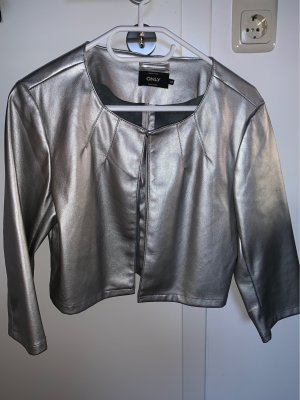 Only Short Jacket silver-colored polyurethane