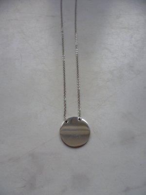 Silberne Kette mit Kreisanhänger, Coin, Münze, Blogger, Basic