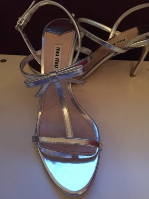 Miu Miu Strapped High-Heeled Sandals silver-colored