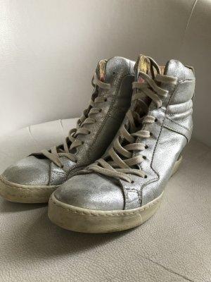 silberne Mjus Plateau Turnschuhe Sneaker 7 cm Gr. 40