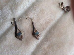 Silberne  Ohringen mit blau Detail