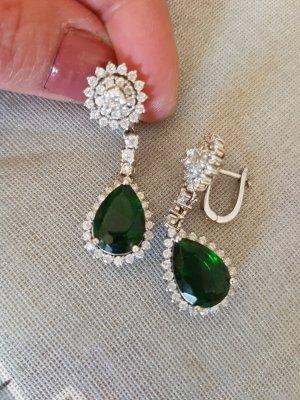 Pendientes de plata verde