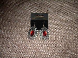 silberne Ohrringe mit rotem großem Stein Barock-Optik