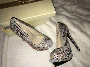 Silberne Peep Toe High Heels mit bunten Steinchen Gr. 36