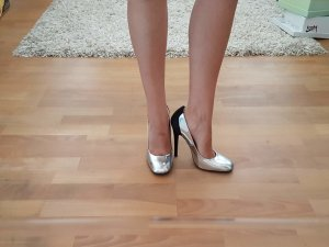 High Heels silver-colored-black leather