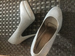 Belle Women Tacones blanco-color plata